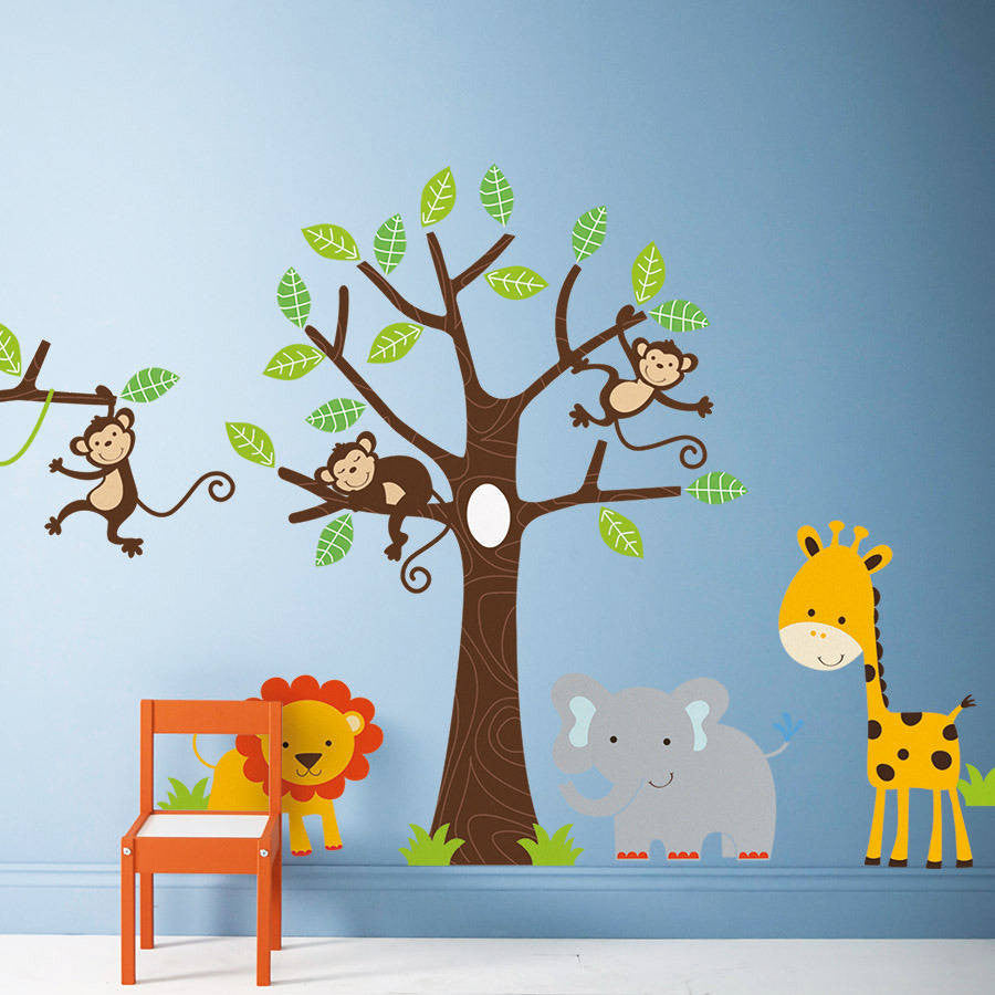 Childrenu0027s Jungle Wall Stickers Set