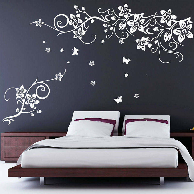 Flower And Butterfly Vine Wall Stickers