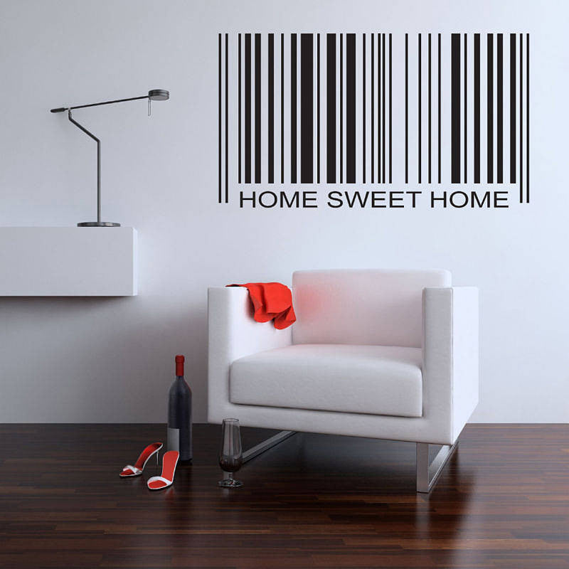 Home Sweet Home Quote Barcode Wall Sticker
