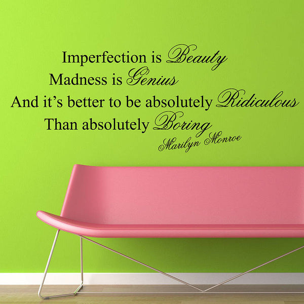 Imperfection Is Beauty Quote Wall Sticker