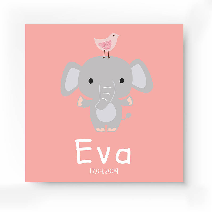 Personalised Elephant Canvas Print