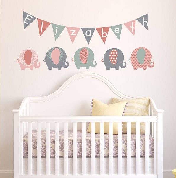 Pastel Elephant Children's Wall Stickers