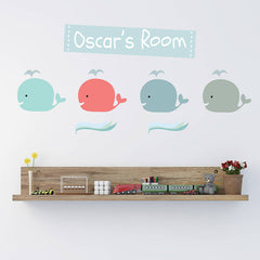 Children's Pastel Whale Wall Stickers