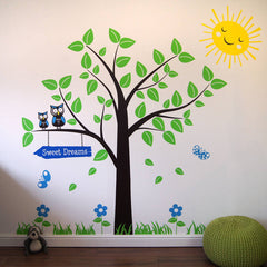 Tree With Owls And Butterflies Wall Sticker