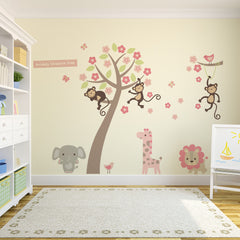 Pastel Blossom Tree with Animals Wall Stickers