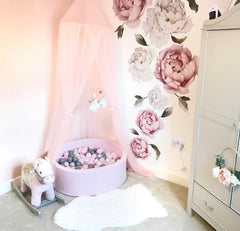 Personalised Peony Fabric Wall Stickers