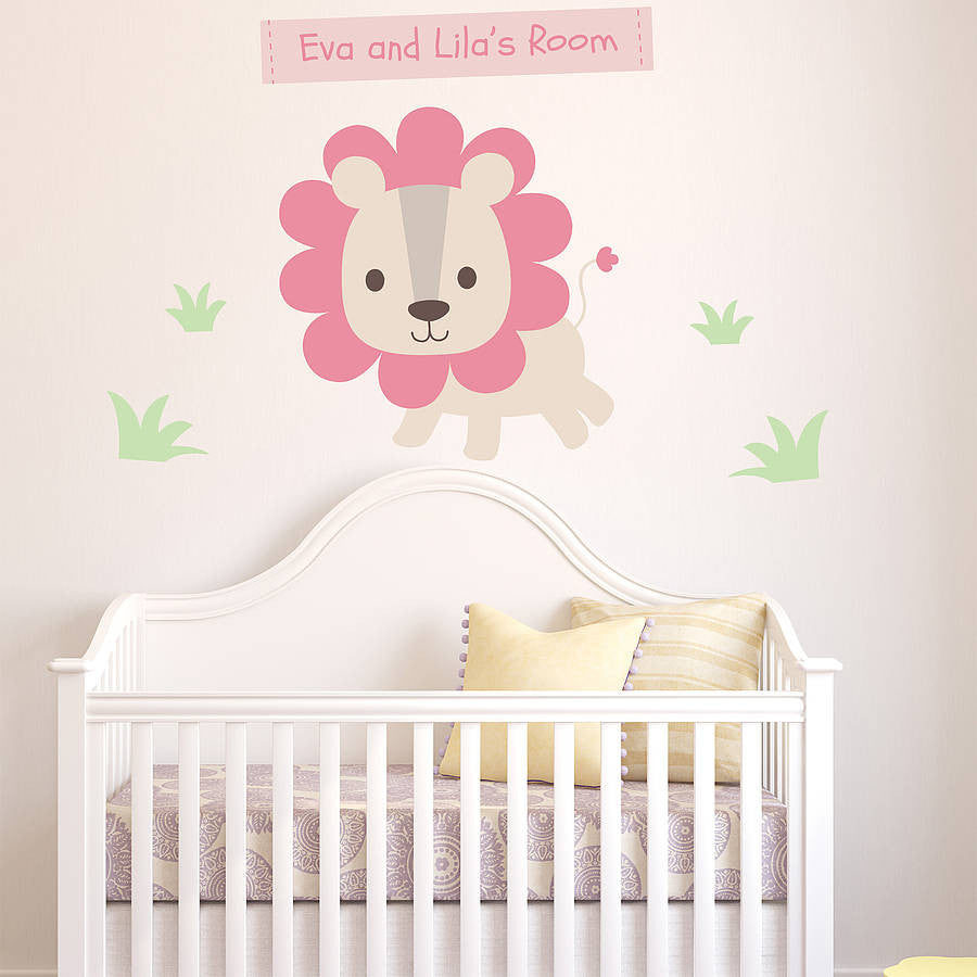 Personalised Pastel Lion Wall Sticker