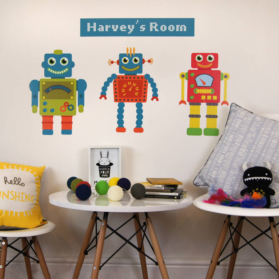 Personalised robot wall stickers parkins interiors personalised robot wall stickers personalised robot wall stickers amipublicfo Gallery