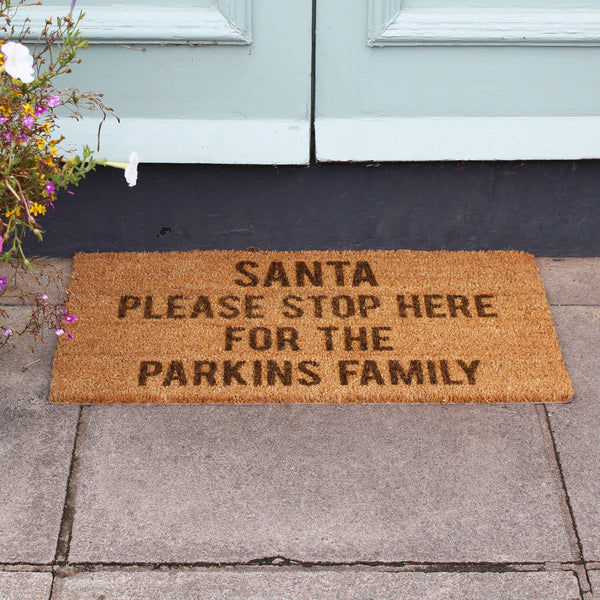 Personalised Santa Stop Here Door Mat