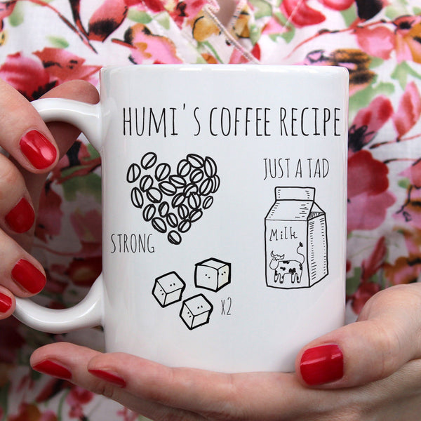 Personalised Coffee Recipe Ceramic Mug