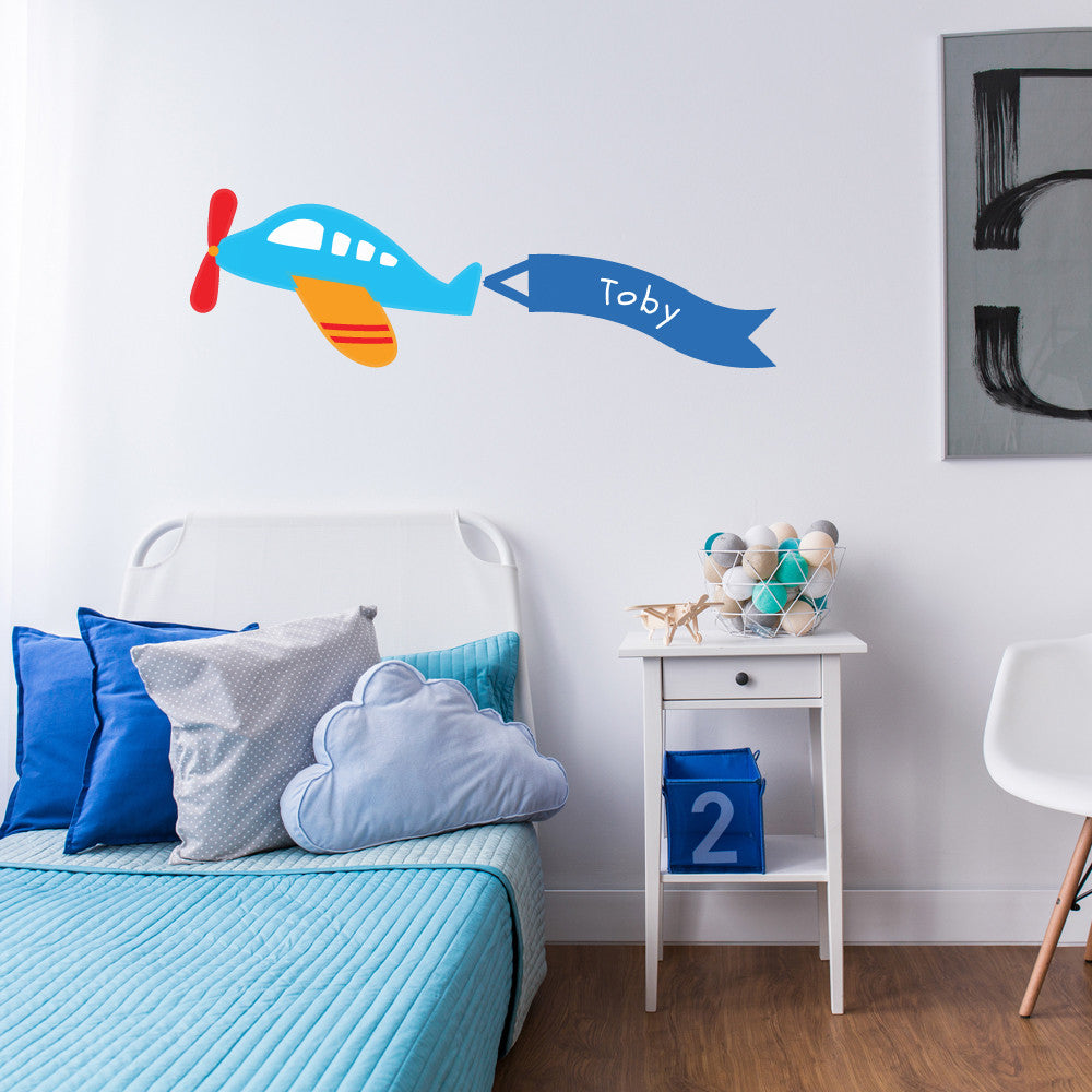 Personalised Childrens Plane Wall Sticker