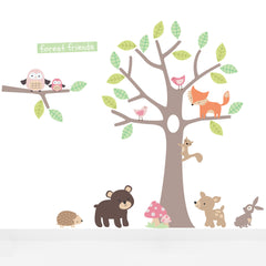 Pastel Forest Friends Pink Wall Stickers