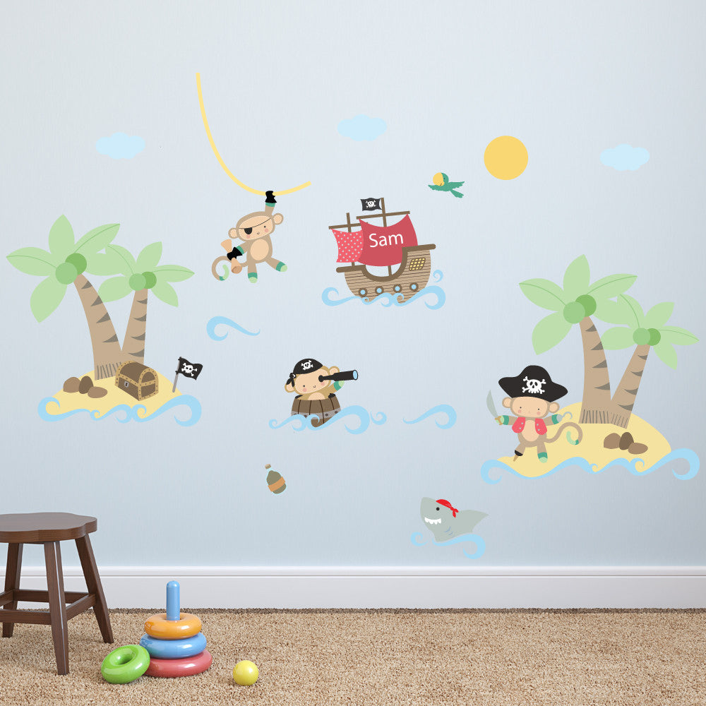 pirate monkey wall stickers parkins interiors pirate monkey wall stickers