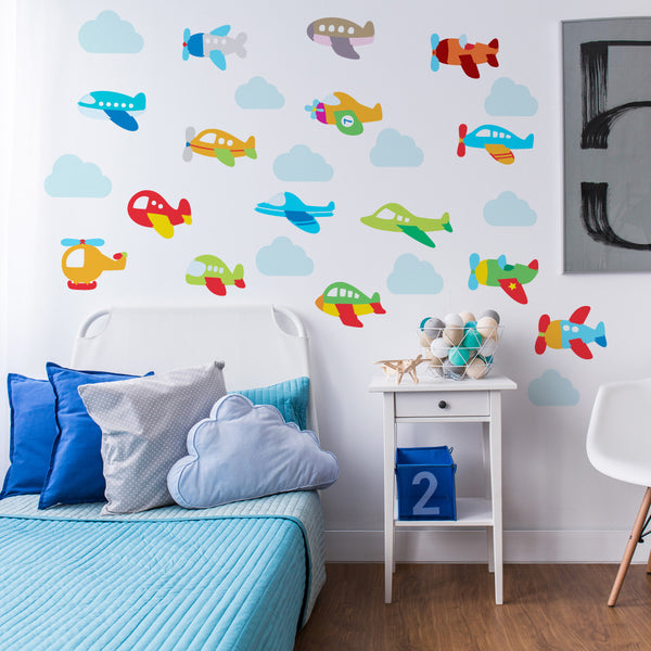 Plane And Clouds Wall Stickers