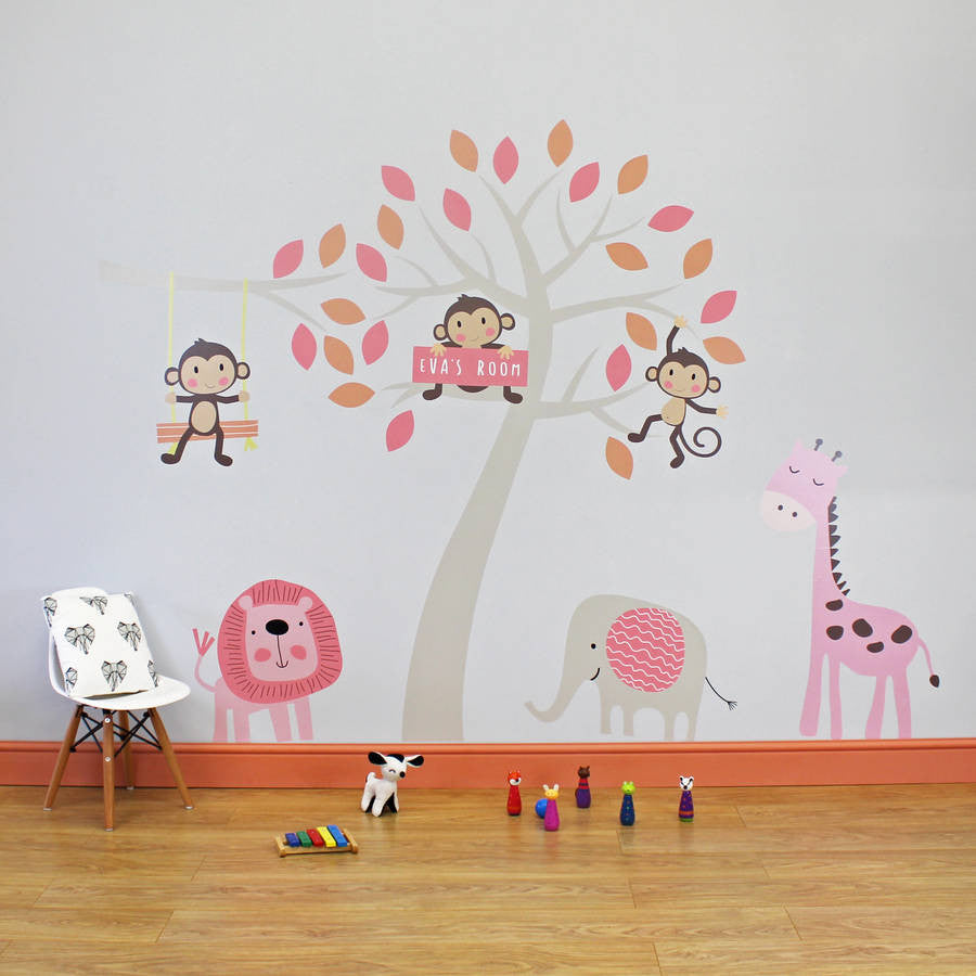Rose Jungle Animals Wall Stickers