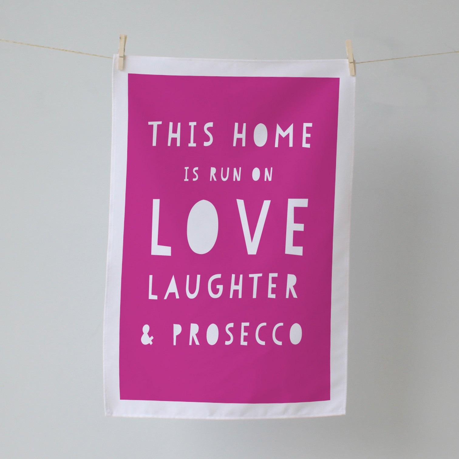 This Home is Run on. Personalised Tea Towel
