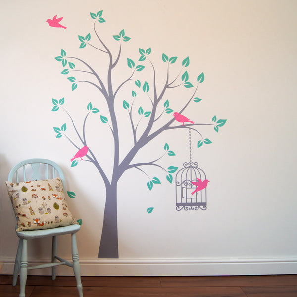 Tree with Bird Cage Wall Sticker
