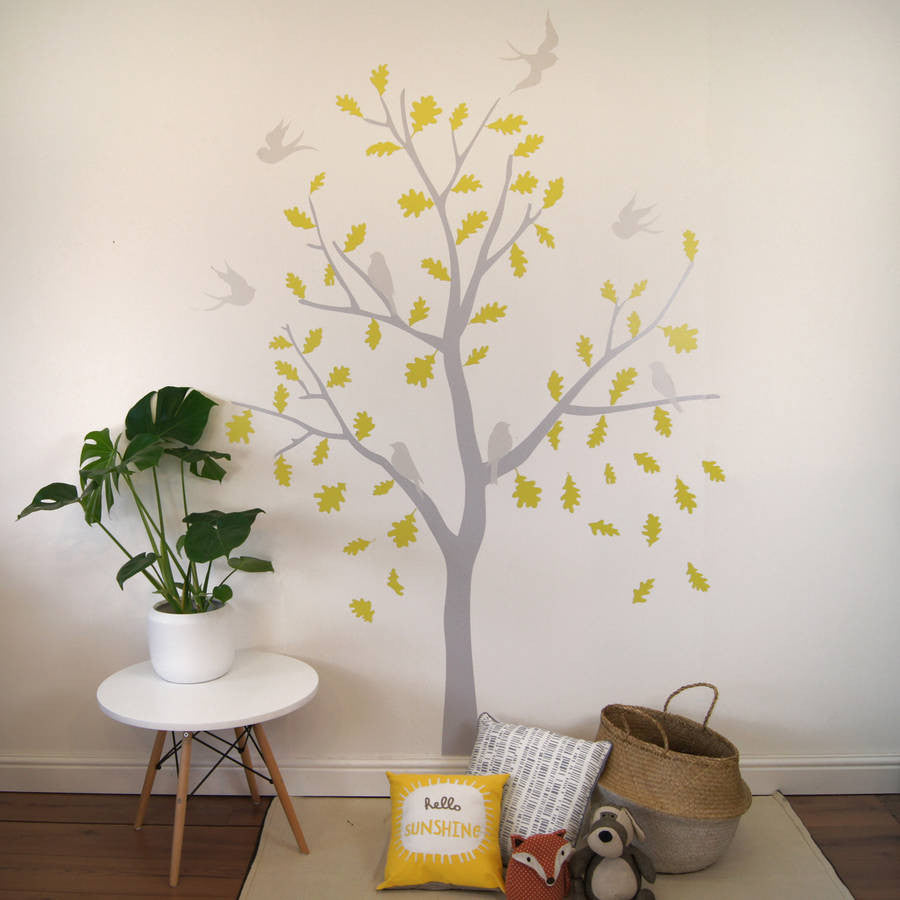 Yellow And Grey Bird Tree Wall Stickers