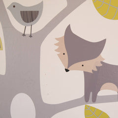 Yellow And Grey Woodland Animals And Tree Wall Stickers