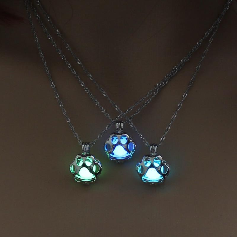 glow in the dark necklace, dog paw necklace, dog necklace, dog themed necklace, paw necklace, dog lover gifts, gifts for dog lover 2019