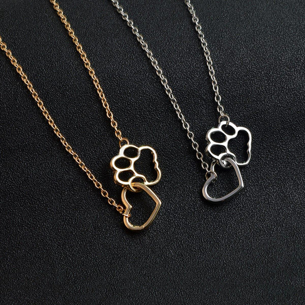 DogWoofers - Dog Themed Hollow Dog And Heart Dog Paw Necklace