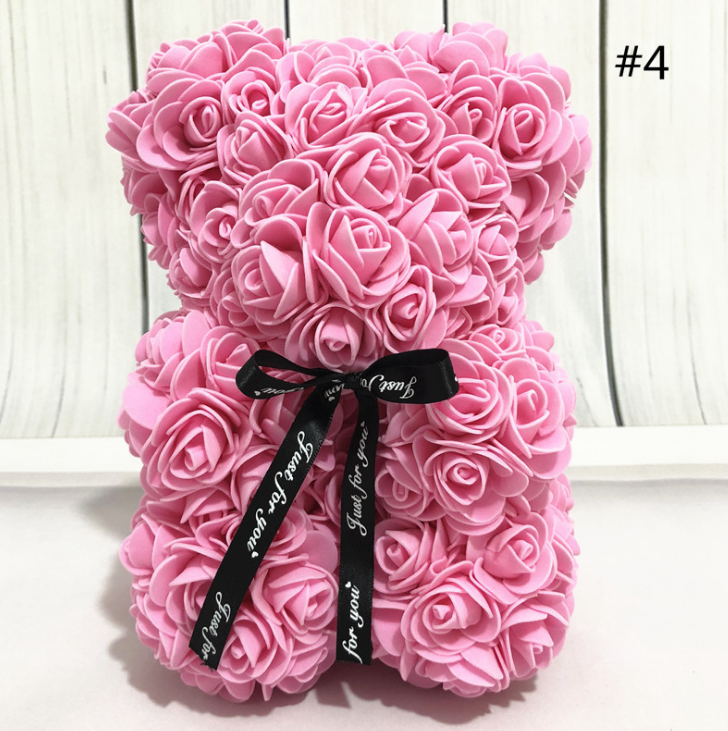Teddy Bear Made of Rose Flowers