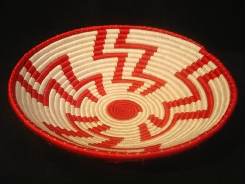 Red and White Geometric Plateau Basket