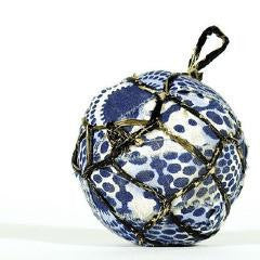 Indigo Blue Textile & Banana Ball Ornament