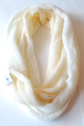 Ivory Wool Triple Loop Scarf