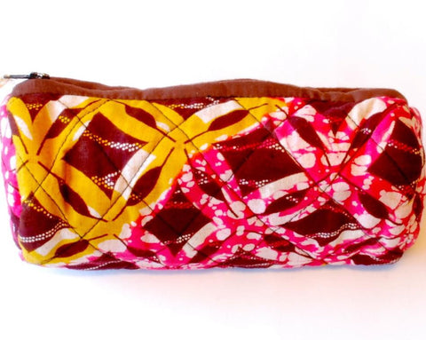 Quilted Pencil Case - Pink & Yellow