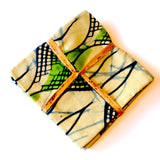 Set of 4 Wine Coasters - Green & White