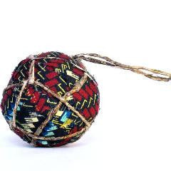 Red Geometric Textile and Banana Ball Ornament