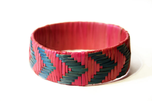 Imfumzo Bangle - Pink & Teal Chevron