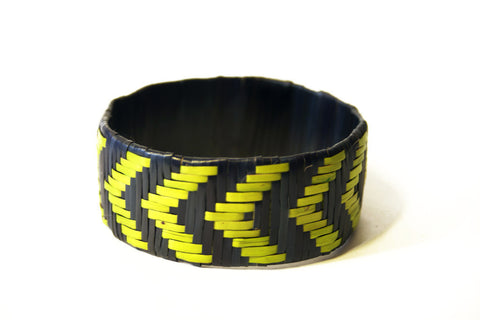 Imfumzo Bangle - Navy and Lime Chevron