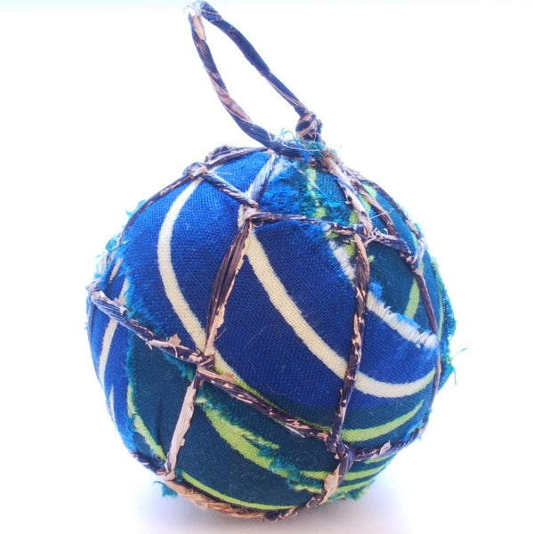 Lime Green Textile and Banana Ball Ornament