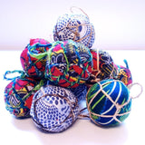 Red & Green Textile Ball Ornament