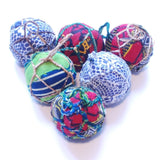 Red & Lime Textile Ball Ornament