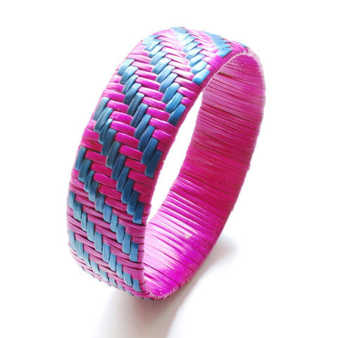 Imfumzo Bangle - Pink & Teal Diagonal