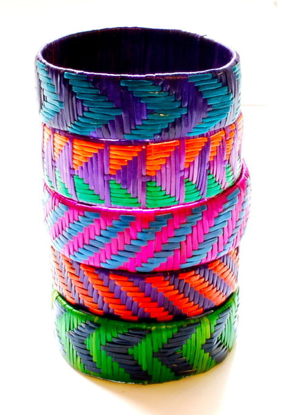 Imfumzo Bangles - Teal & Purple Diagonal