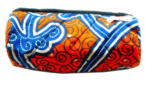 Quilted Pencil Case - Orange & Blue