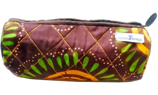 Quilted Pencil Case - Brown & Yellow