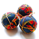 Red & Black Textile Ball Ornament