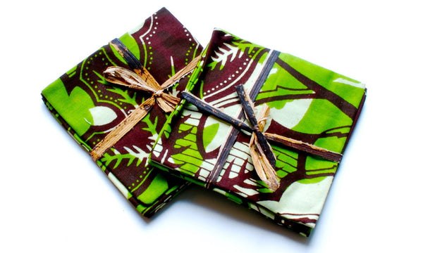 Set of 4 Wine Coasters - Green & Brown