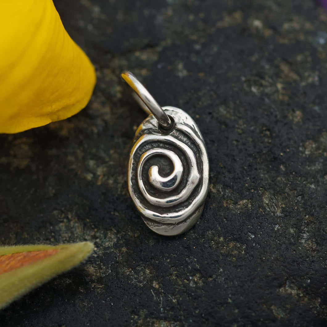 Sterling Charm or Pendant -A Little Spiral