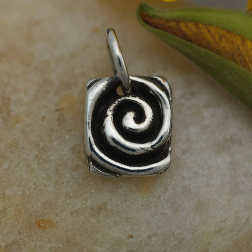 Sterling Charm or Pendant -Little Life on the Edge Spiral