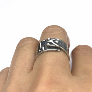 Asymmetrical Abstract Chevron Dot Sterling Silver Ring
