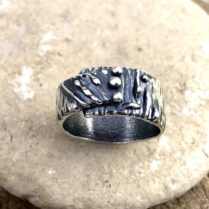 Asymmetrical Abstract Lines and Dots Sterling Silver Ring