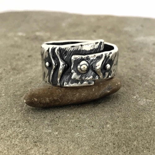 Asymmetrical Abstract Chevron with 3 dots Sterling Silver Ring