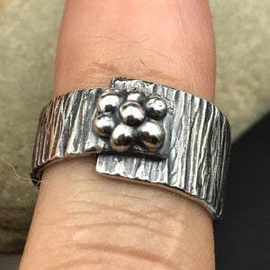 Asymmetrical Abstract Flower Sterling Silver Ring