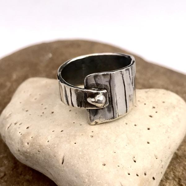 Asymmetrical Abstract Dot Sterling Silver Ring